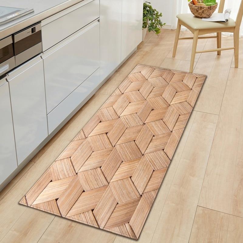 50x180 Long strip kitchen mat, door mat, absorbent carpet, imitation wood grain, custom carpet and floor for family living room