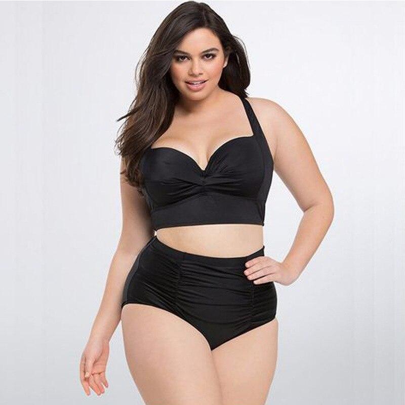 Sexy Large Size Fat Woman  Bikini 2019 Female Swimsuit Women Bikini Swimwear Push Up Set High Waist Swimming Suits For Bathing