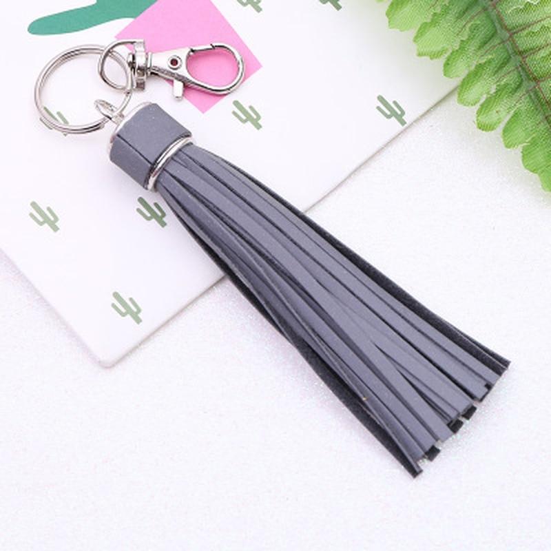 1PC Korean Reflective Fringe PU Leather Tassel,Fur Ball Keychains Key Holder Metal Key Chain Keyring Charm Bag Auto Car Key Ring
