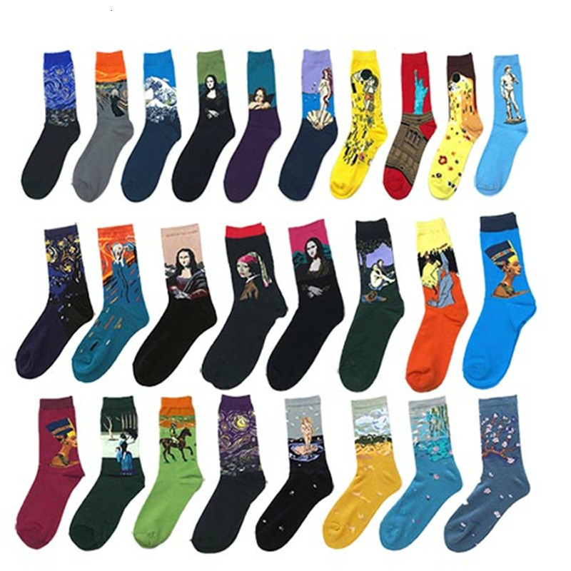 Novelty 1 Pair Men Socks New 2019 Winter Starry Night Art World Famous Oil Painting Cotton Socks Funny Novelty Happy Socks