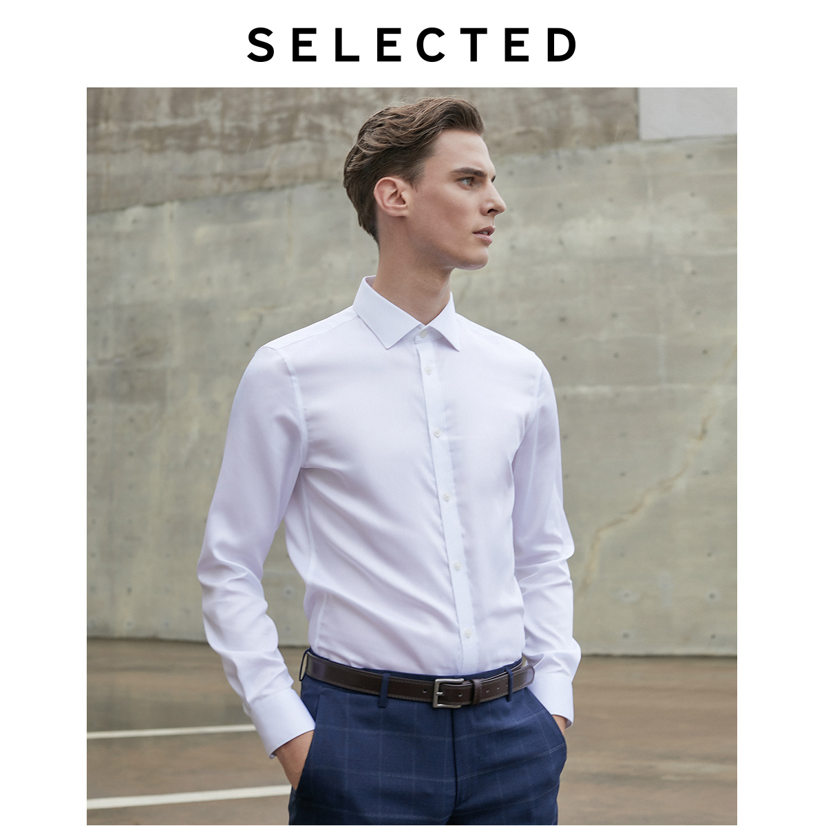 SELECTED Men's 100% Cotton Slim Fit Long-sleeved Shirt T|419305501