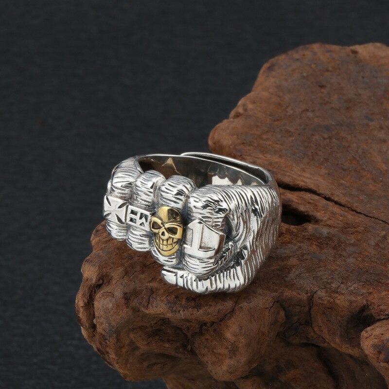2020 créatif Punk poing crâne croix réglable anneau 100% réel S925 argent Sterling bijoux fins hommes déclaration amour Simple anneau - 4