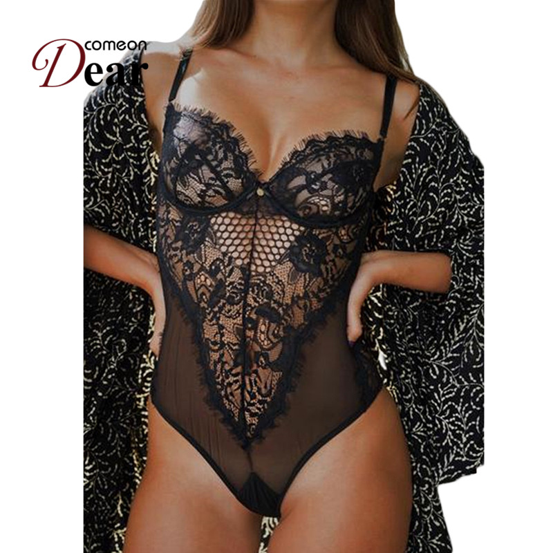 Comeondear Chic Kissable Backless Plus Size Bodysuit Women Black/White Lace Body Hollow Out See Through Sexy Jumpsuit RA80408
