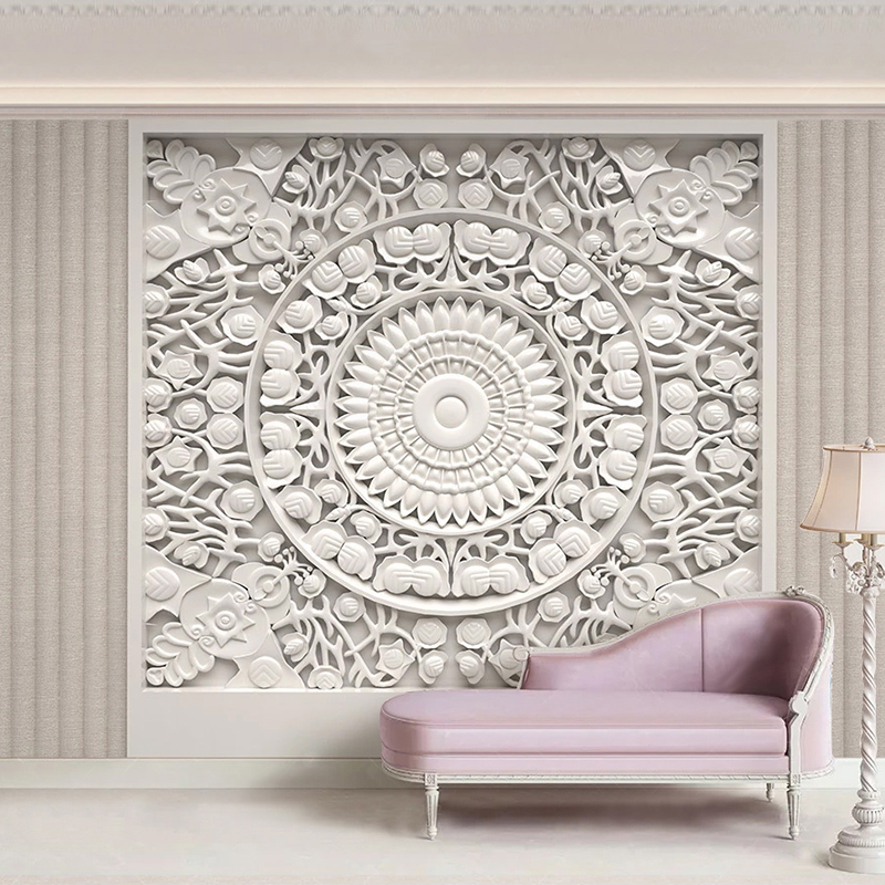 Custom Wallpaper Home Decor European Style White Plaster Carved 3D Stereoscopic Relief Living Room TV Background Mural De Parede