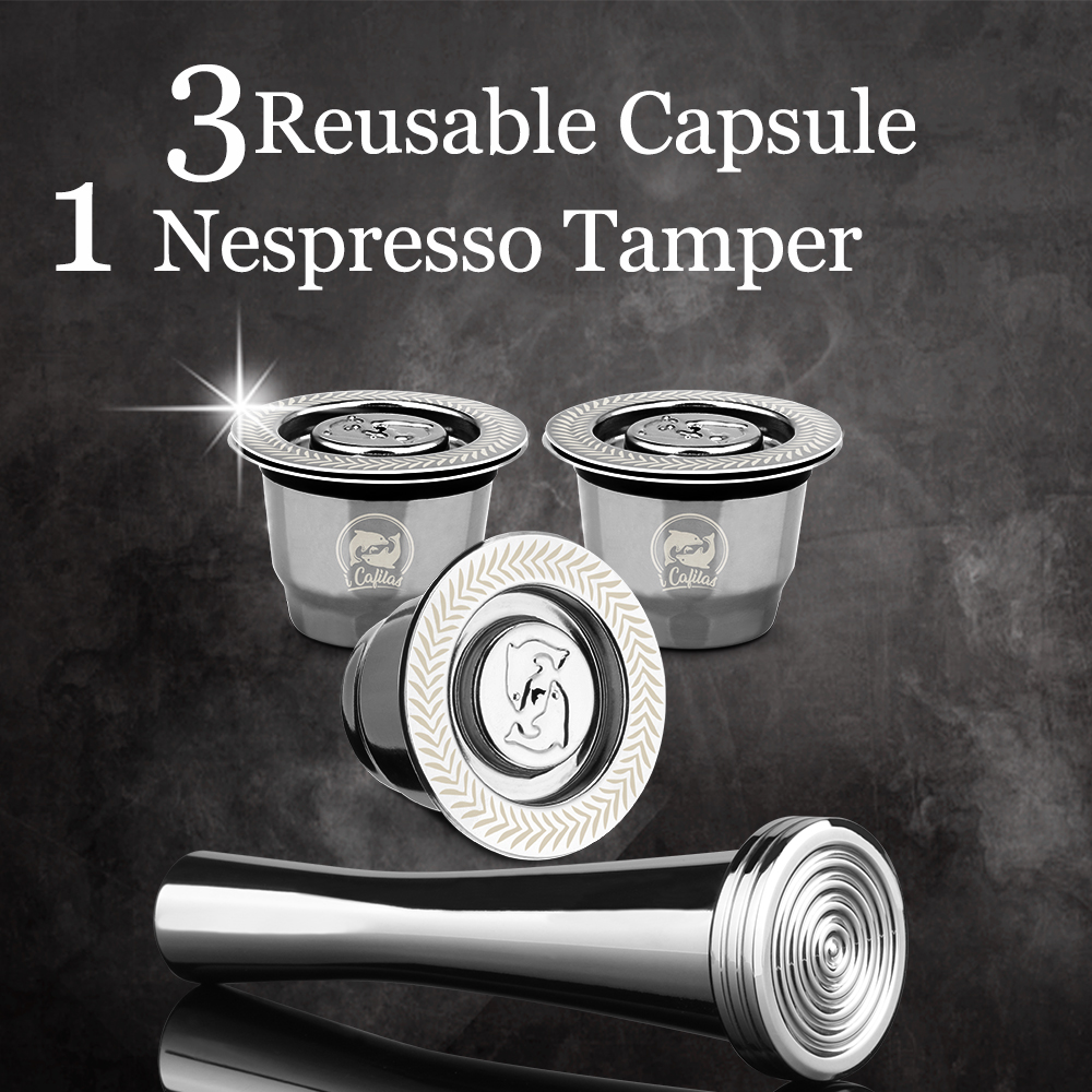 ICafilas Refillable Reusable Coffee Capsule Pod For Nespresso Coffee Filters Stainless Steel Cup Espresso Coffee Machine Pod