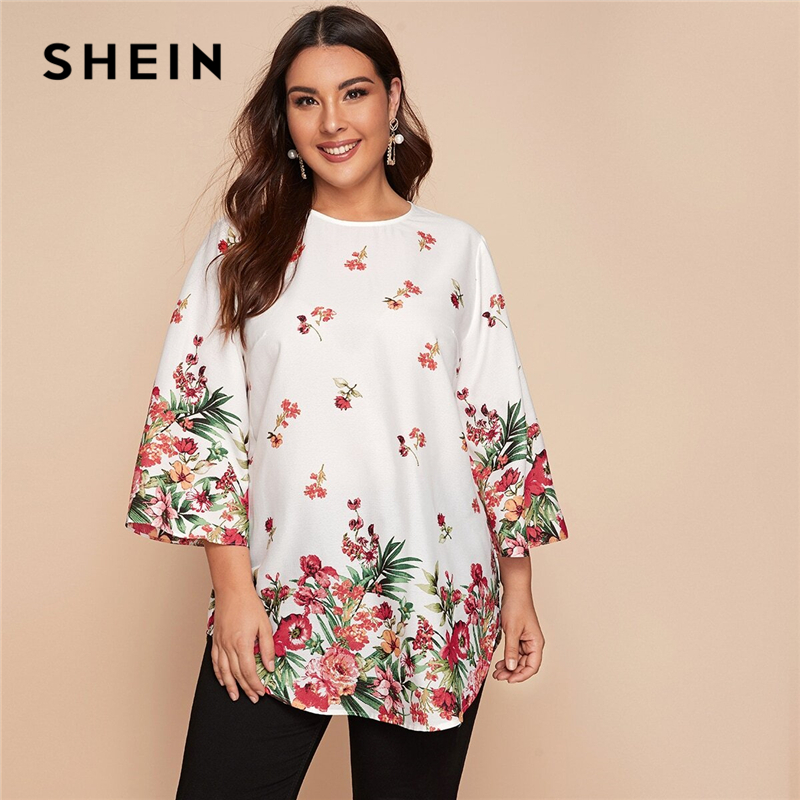 SHEIN Plus Size White Curved Hem Floral Tunic Top Women 2020 Spring 3/4 Length Sleeve O-neck Loose Casual Boho Long Blouses 1