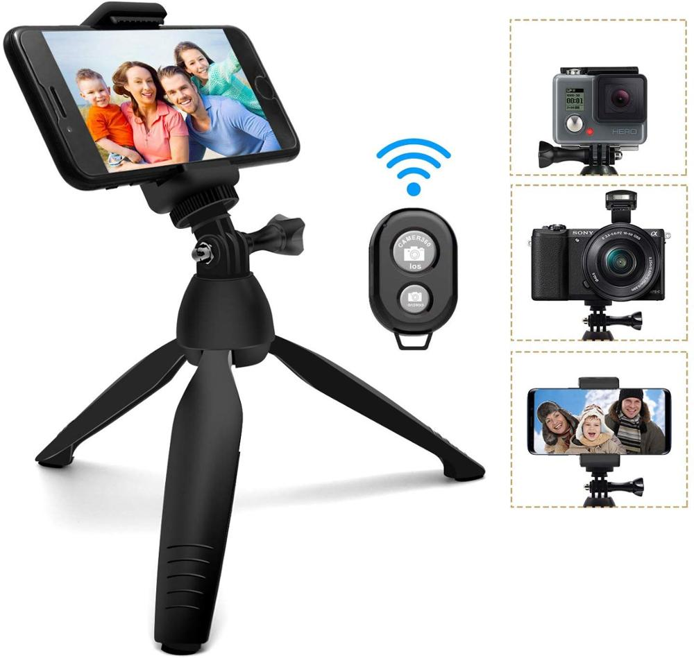 <font><b>Mini</b></font> Camera <font><b>Phone</b></font> <font><b>Tripod</b></font> Selfie Stick Travel Stand Adjustable Stand Holder with Wireless <font><b>Remote</b></font> Shutter and Universal Clip image
