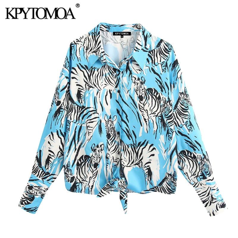 KPYTOMOA Women 2020 Fashion Animal Print Loose Blouses Vintage Lapel Collar Long Sleeve Bow Tie Female Shirts Blusas Chic Tops