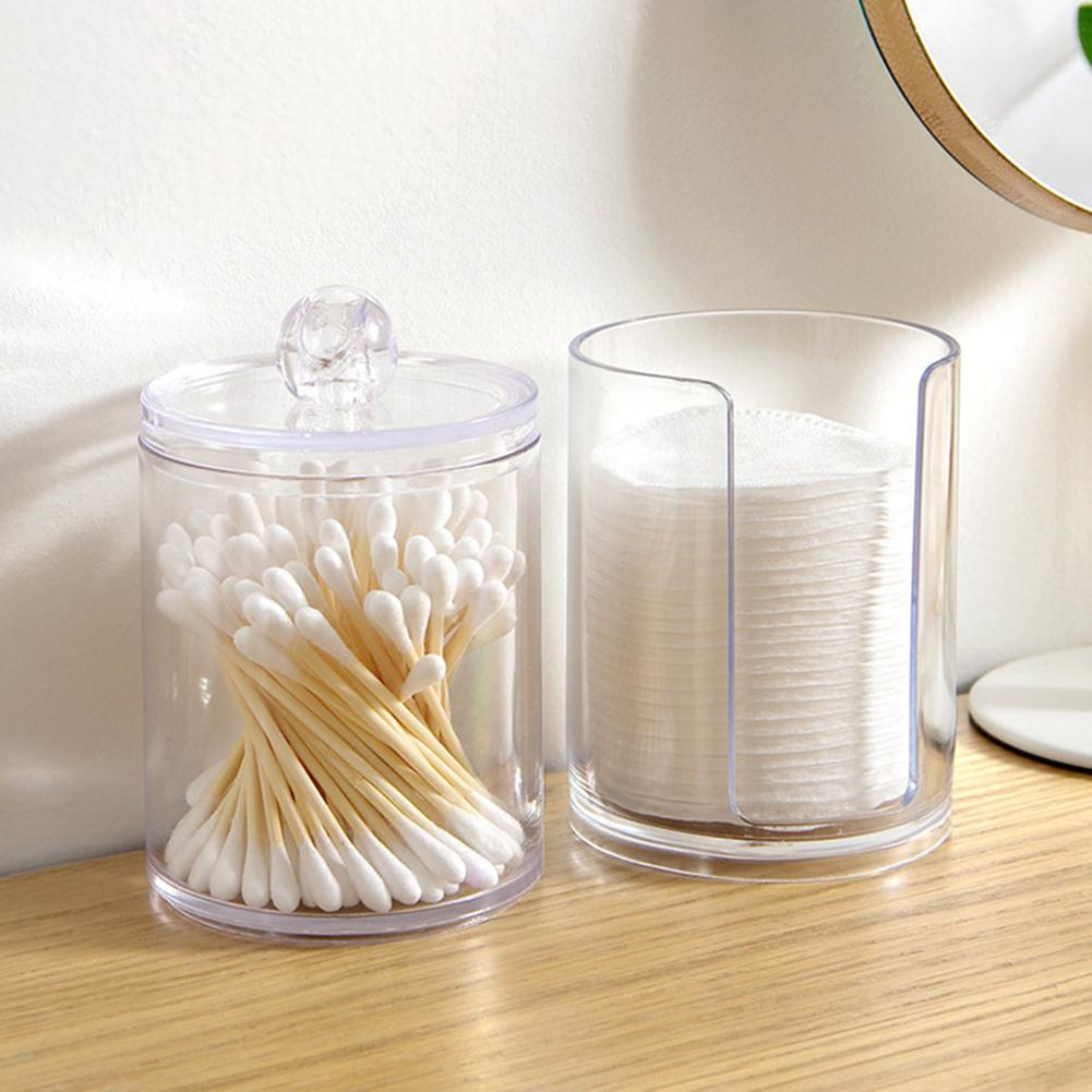 Clear Round Storage Boxes Plastic Storage Box Cotton Swabs Pads Balls Storage Case Cosmetic Organizer Home Storage Box Container