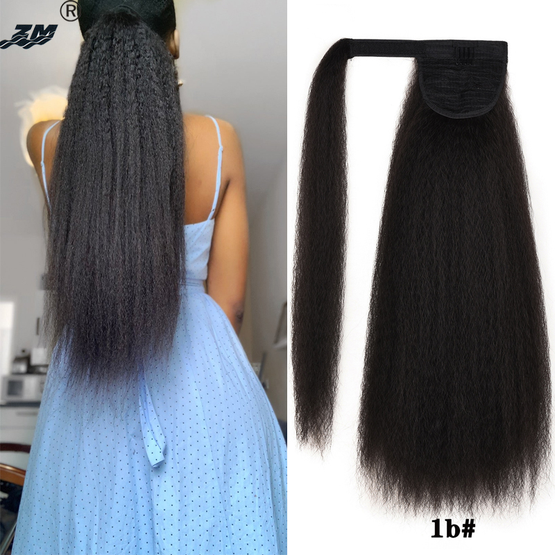 ZM Hair Long Kinky Straight Wrap Around Clip In Ponytail Hair Extension Heat Resistant Synthetic Natural Pony Tail Fake Hair
