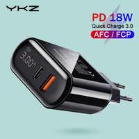 YKZ Carica Rapida 3.0 Caricatore USB LED Display di CONTROLLO di qualità 3.0 PD Veloce di Ricarica Caricatore Del Telefono Mobile per il iPhone Xiaomi Samsung huawei