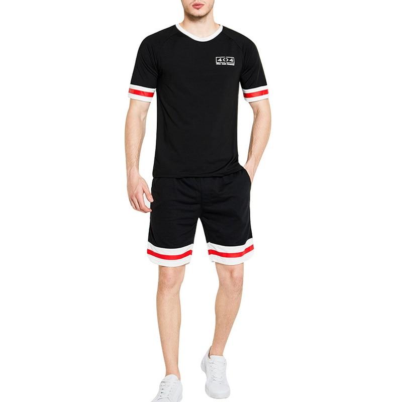 MJARTORIA 2020 Men Casual Set Fashion 2 PCS Sweat Suit Striped Short Sleeve Shorts Male Sportswear Tracksuit Summer Sportsuit