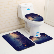 Halloween Party Toilet Seat Cover Shower WC Rug Mat Graveyard Witch Printed Bathroom Carpet Flannel Bath Mat Set for Home Decor цена 2017