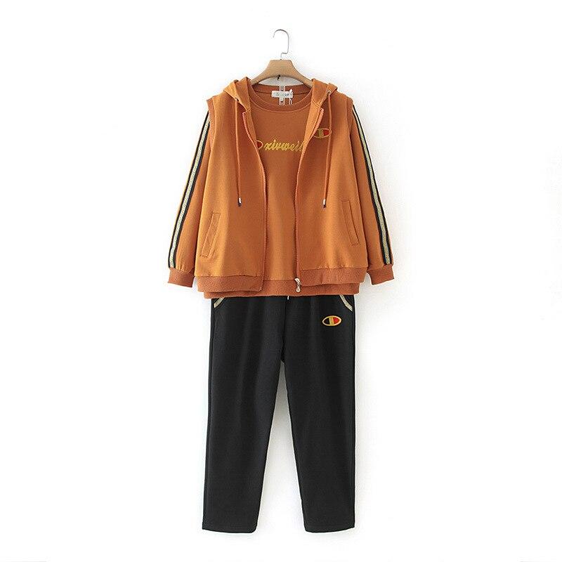 Plus Size Casual Three-piece Set 2019 Autumn Women Fashion Loose Long Sleeve Cotton Vest + Sweatshirt + Pants G5-1923