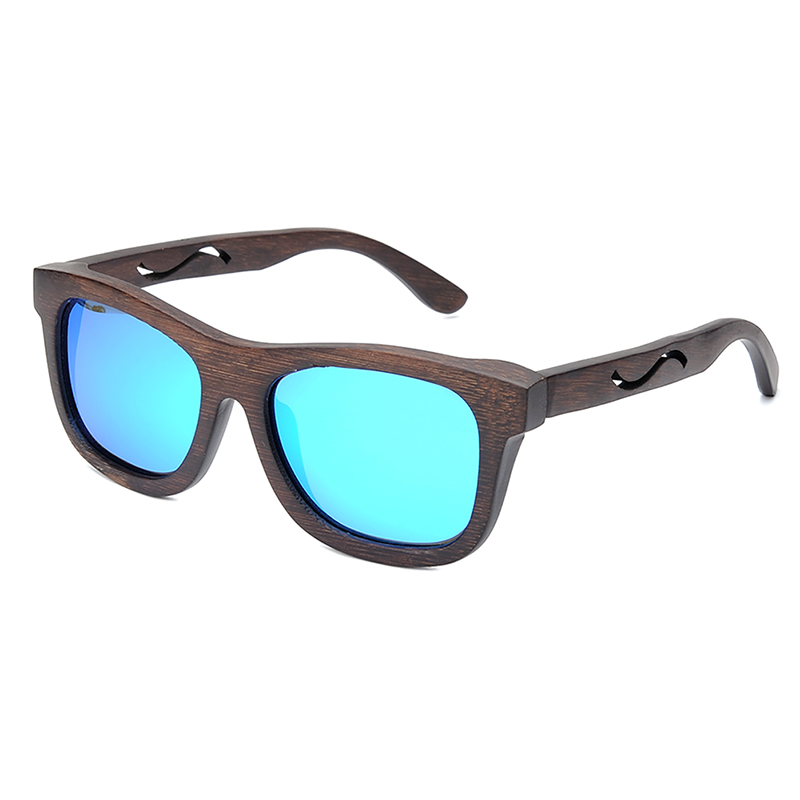 BG006d -CZC  Ebony Wooden Sunglasses for Women And Mens With Bule Polaried Lens  (4)