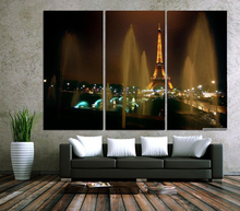 Modern Colorful Photo Picture fountains and eiffel tower Room Decor Cities Canvas Art Painting Living Bedroom