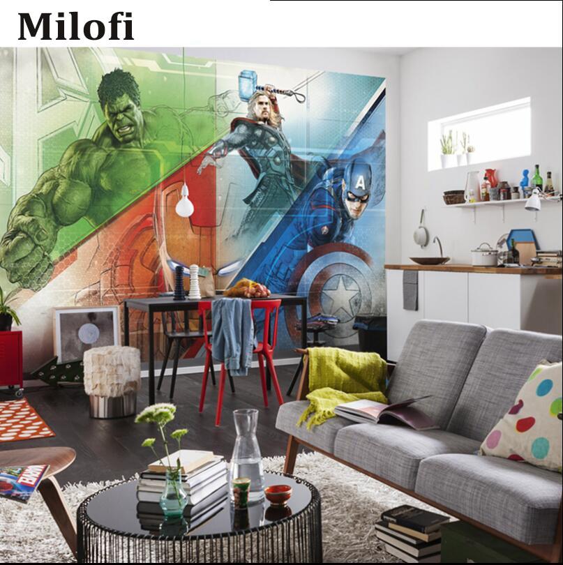 Milofi Custom 3D Wallpaper Mural Wallpaper Cartoon Anime Avengers Children's Room Wallpaper Decorative Mural Wallpaper