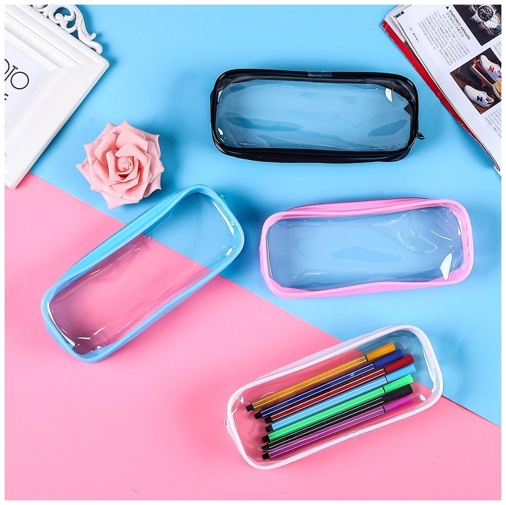 1 PC Simple Style Transparent PVC Pencil Case Creative Korean Stationery School Office Supplies Pouch