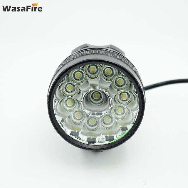 Wasafire 12 * t6 led 2 em 1 bicicleta farol 20000lm luz da frente lâmpada cabeça ciclismo lanterna + 18650 bateria carregador 3