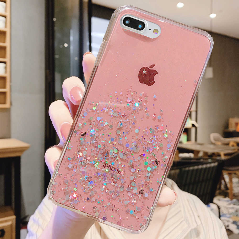 Glitter Bling Sequins Case For iphone 8 7 Plus XR XS 6 6s Epoxy Star Case For iphone 11 Pro MAX X XR Soft Transparent TPU Cover