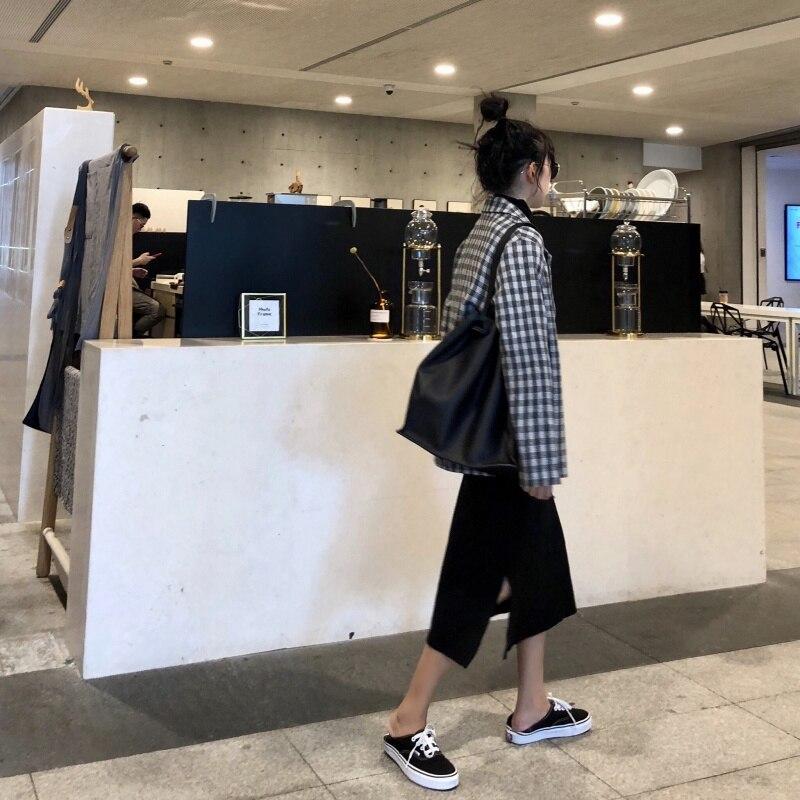 Korean Black Plaid Ladies Blazer Loose Casual Suit Jacket Long Sleeve Blazer Blanco Mujer Vintage Women's Clothing New MM60NXZ