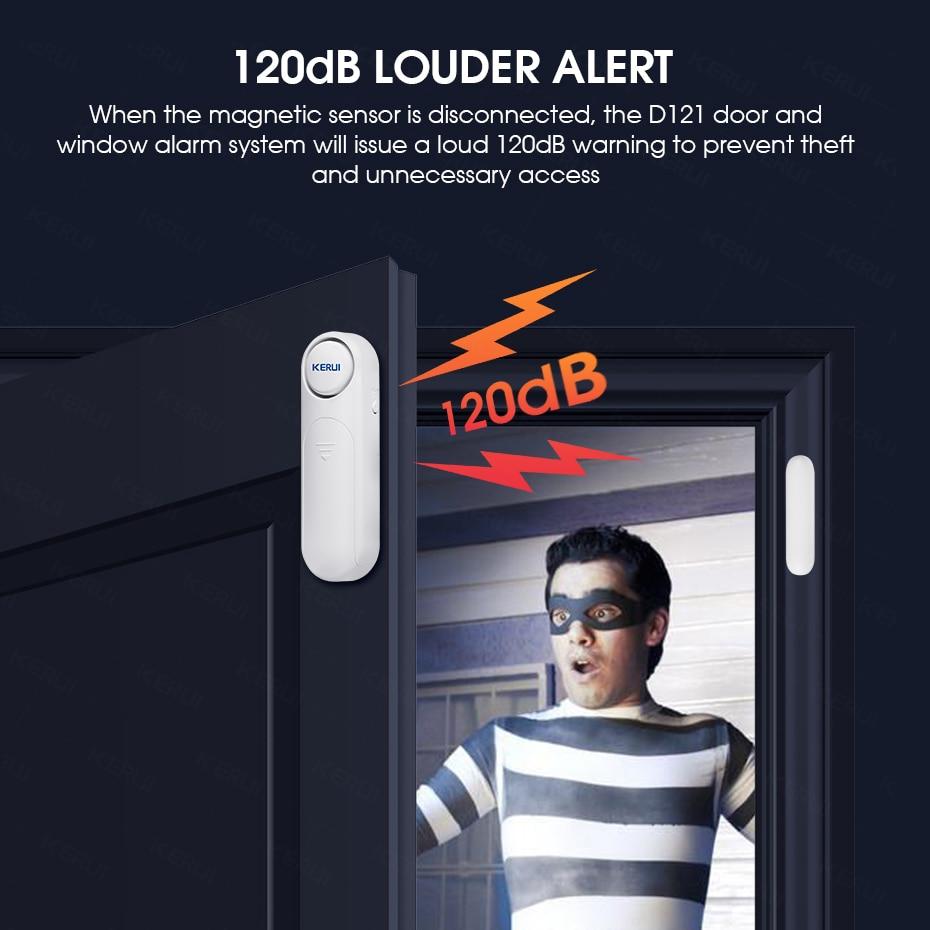 Беспроводная дверная/оконная сигнализация KERUI 2020 с дистанционным управлением, 300 футов, 120 дБ, противоугонная дверная сигнализация для детей...