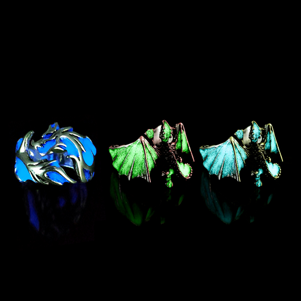 Adjustable Gothic Punk Noctilucent Dragon Rings Vintage Silver Plated Luminous Glow In the Dark Pterosaur Ring for Men Halloween