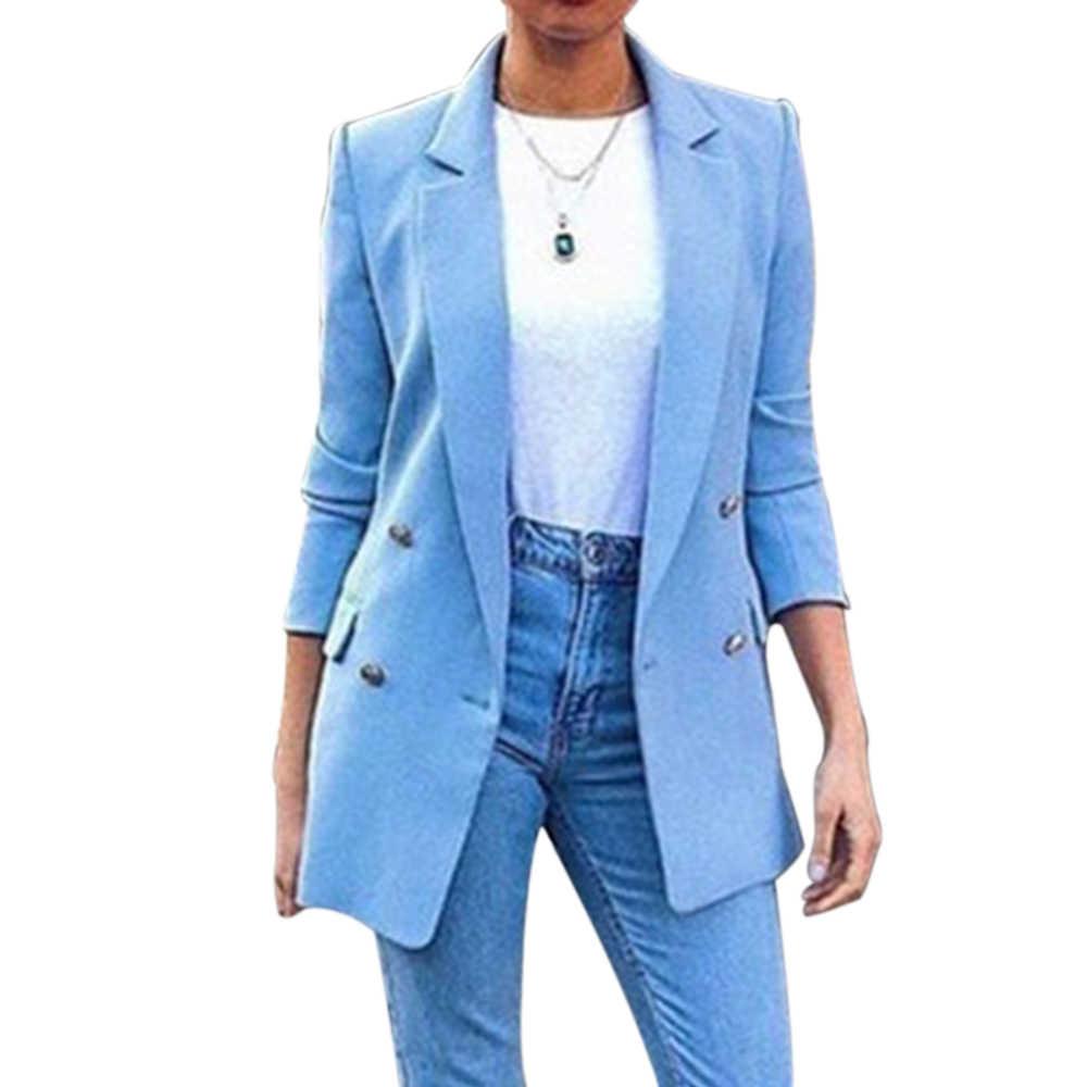 新2019ブレザー女性のスーツのジャケットロング固体コートオフィス女性ターンダウン襟のジャケットカジュアルな女性の上着のスーツブレザー