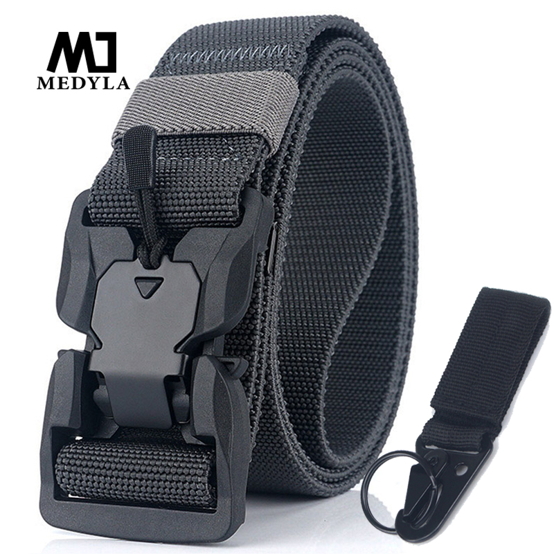MEDYLA New Elastic Belt Hard ABS Magnetic Buckle Men Military Tactical Belt High Strength Elastic Nylon Soft No Hole Army Belt