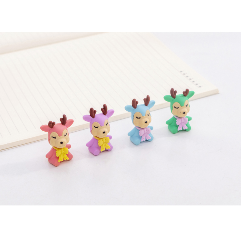 48pcs/lot Small Color Deer Styling Rubber Four-color Mixed Kawaii School Supplies Creative Cartoon Erasers