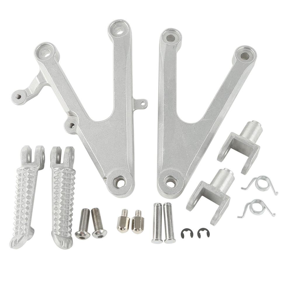Motorcycle Aluminum Front Foot Pegs Footrest Brackets For Yamaha YZF R1 YZFR1 2002-2003 02 03 Black/Silver