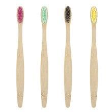 Brosse à dents en bambou naturel multicolore brosse à dents en bambou large poignée en bambou poils souples brosse Portable écologique pour adultes