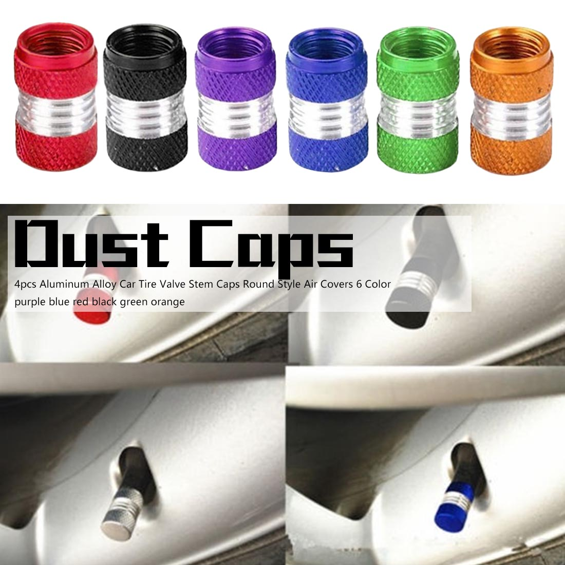 6 Color 4Pcs Aluminum Alloy Car Truck Round Wheel Tire Valve Stem Cap Dust Cover Black/Red/Yellow/Green/Blue/Purple