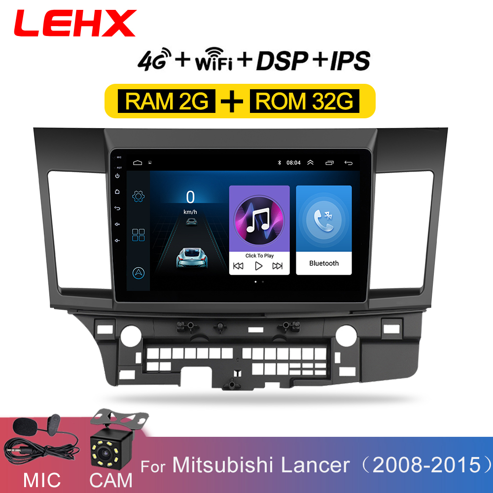 LEHX Car Android 8 1 Car Multimedia  player for MITSUBISHI LANCER 2007-2012  10 1 inch 2 DIN radio Android  Video audio player