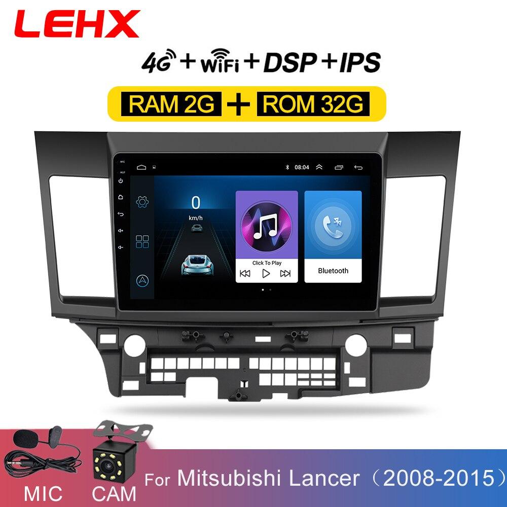 Reprodutor multimídia do carro do andróide 8.1 do carro de lehx para mitsubishi lancer 2007-2012 10.1 jogador de áudio video do andróide do rádio do ruído 2 da polegada