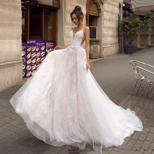 LORIE A Line Backless Wedding Dress 2019 Sexy Spaghetti Straps Bridal Dress 3D Lace Flowers Fairy Beach Wedding Dresses