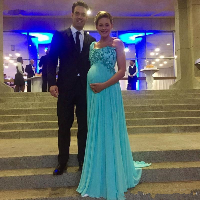Light Blue Chiffon Maternity Evening Dresses 2020 Hot Selling New Custom Applique Beaded One Shoulder Empire Pregnant Formal