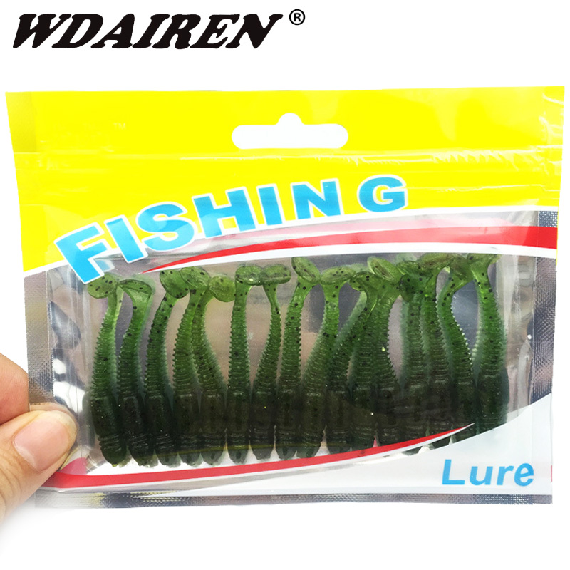 16pcs/lot Worm Fishing Lures Grubs Shad 50mm 1g Jig Wobblers Artificial Silicone Soft Bait Salt Smell Additive T Tail Swimbait