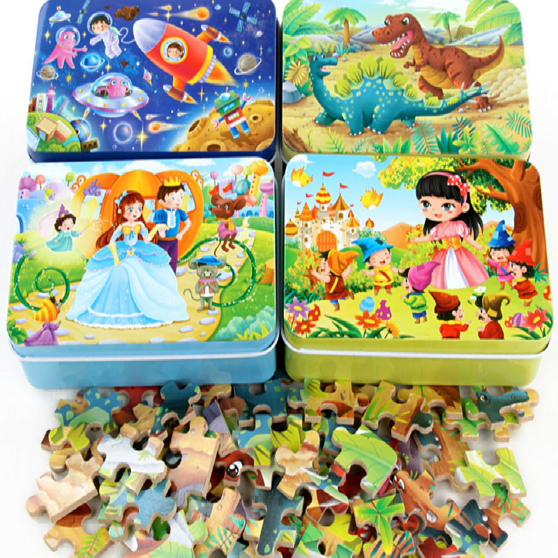 60 Pieces Wooden Puzzle Kids Toy Cartoon Animal Wood Jigsaw Puzzles Child Early Educational Learning Toys For Christmas Gift