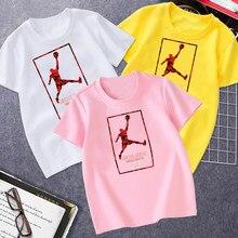 New J0rdan 23 Top T-shirt Summer Glirs Casual T-shirt Loose Kids Tops for Girls O-neck Cotton Tshirts Fashion T-shirt Boys 4-14T