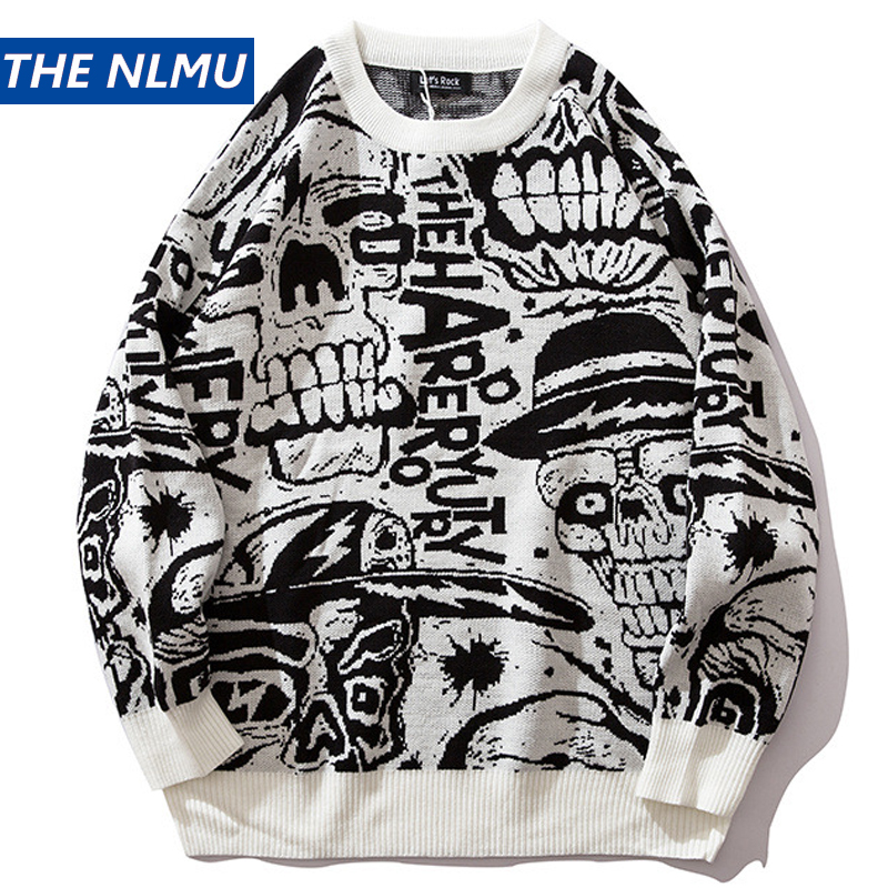 2019 Mens Sweaters Skull Print Streetwear Pullover O-neck Long Sleeve Hip Hop Men Autumn Harajuku Couple Sweaters Loose HZ137