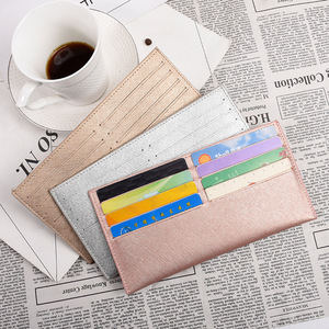 100% Genuine Cow Leather Long Shape Women ID Card Holder Super Slim Solid Bank Credit Card Gift Box Multi Slot Card Case Wallet