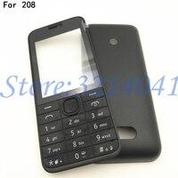 De boa qualidade Para Nokia 208 Nova Completa Telefone Móvel completo Habitação Case Capa + Inglês Teclado + Logotipo|Estojos de celular|Telefonia e Comunicação -