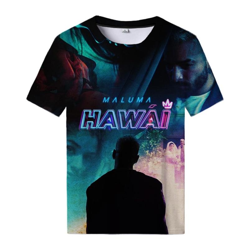 Maluma Hawai 3d Print T Shirt Maluma Tops Casual Streetwear Tees Men Hawai Logo Senpai T-shirt Cool Women All Match T-shirt