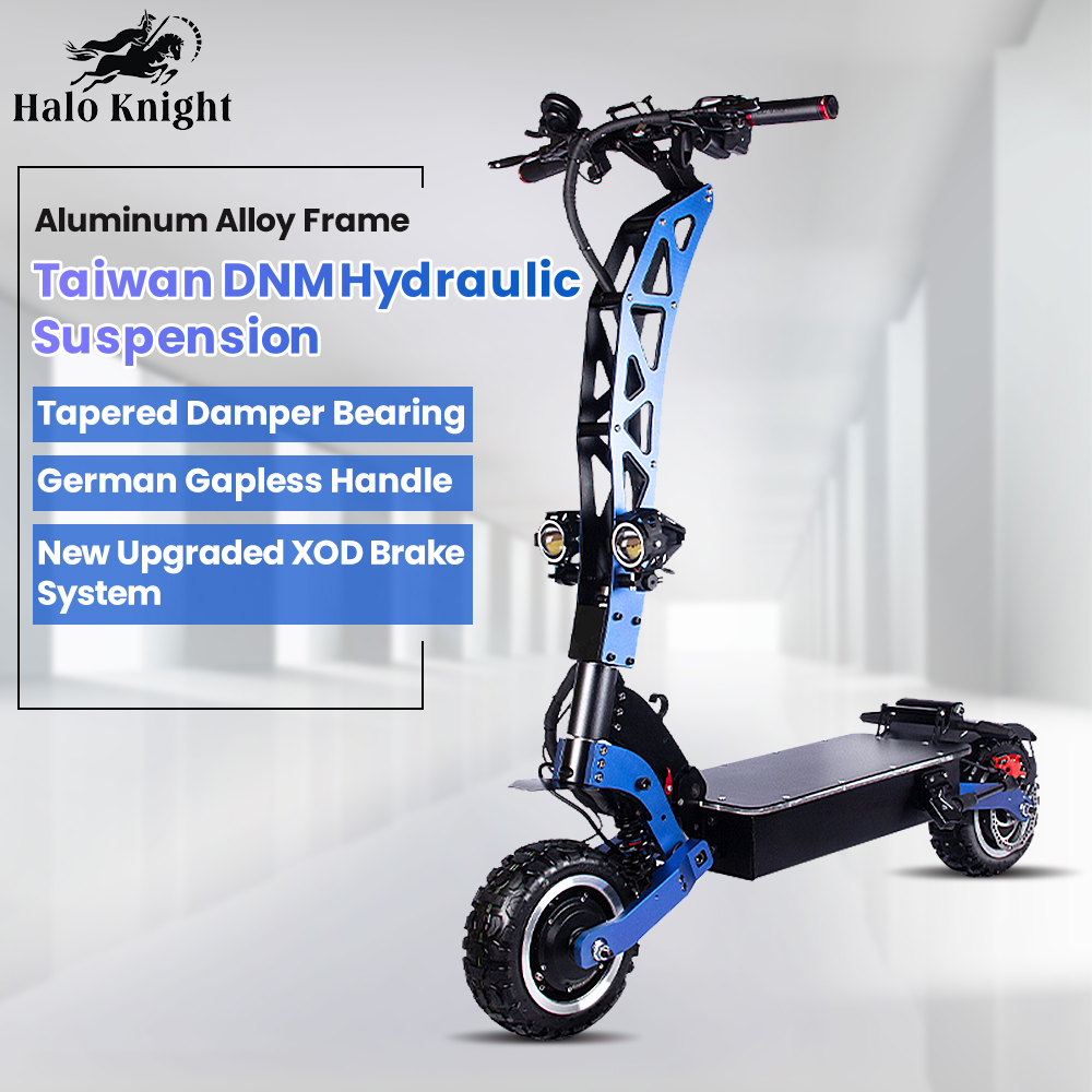 Halo Knight Newest 60V 5600W Dual <font><b>Motor</b></font> <font><b>Electric</b></font> <font><b>Scooter</b></font> With Seat 11inch Off Road Foldable Powerful 85km/h E <font><b>Scooter</b></font> for Adults image