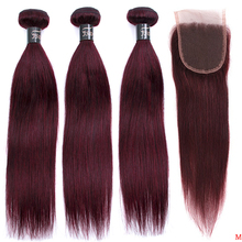 JSDshine Brazilian Straight Hair Bundles With Closure Red 99J Burgundy Human Hair Weave Bundles With Closure Non Remy