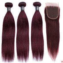 JSDshine mechones de cabello liso brasileño con cierre, rojo 99J, borgoña, mechones de cabello humano, postizo, mechones con cierre no Remy