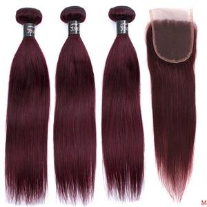Image 1 - JSDshine mechones de cabello liso brasileño con cierre, rojo 99J, borgoña, mechones de cabello humano, postizo, mechones con cierre no Remy