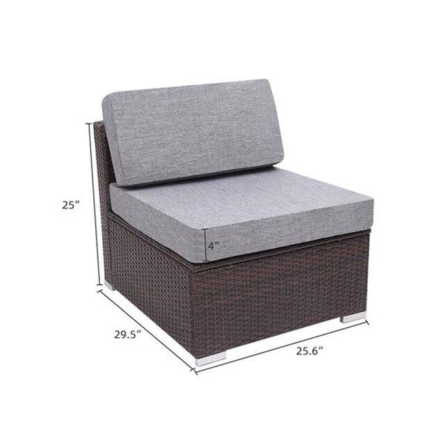 8 Pieces Patio Wicker Rattan Corner Sofa Set  5