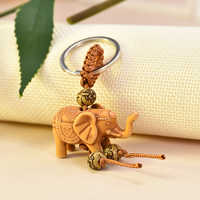 Women Men Lucky Wooden Elephant Carving Pendant Keychain Religion Chain Key Ring Keyring Jewelry Wholesale cute keychain